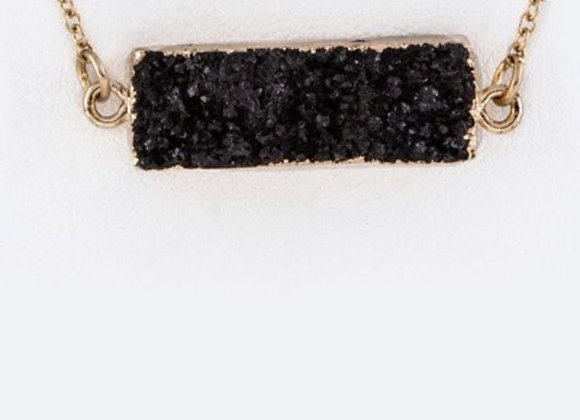 Agate Black Rough Stone Necklace With Gift Box