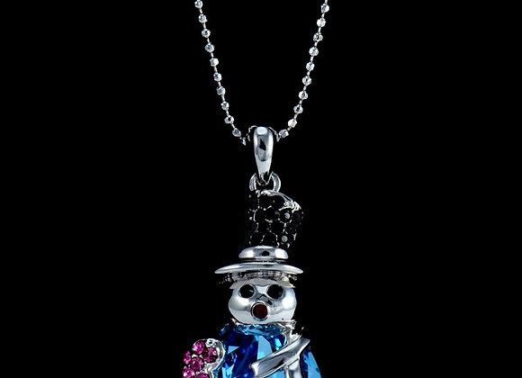 Necklace Swarovski Blue With Gift Box