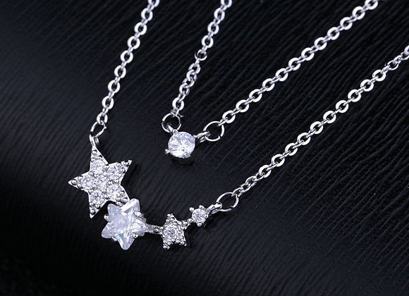 Cubic Zirconia Star Double Strand Necklace
