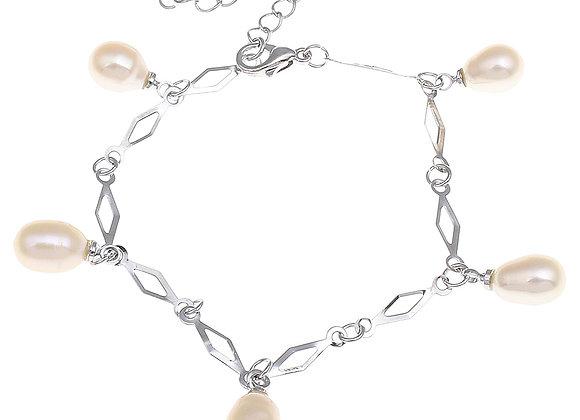 Freshwater Cultured Pearl Rice Link Bracelet