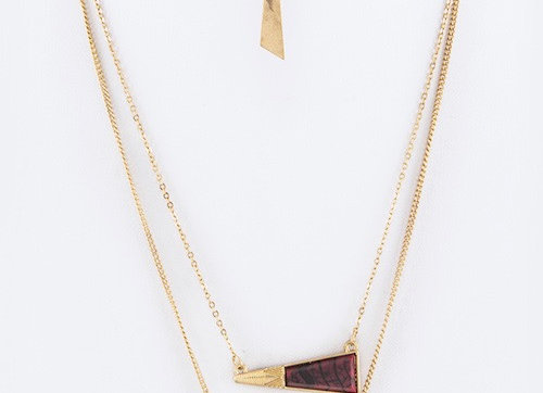 Triangle Double Chain Necklace With Gift Box