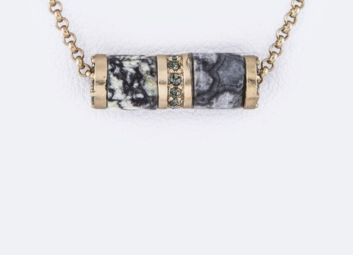 Agate Cylinder Gray Necklace With Gift Box