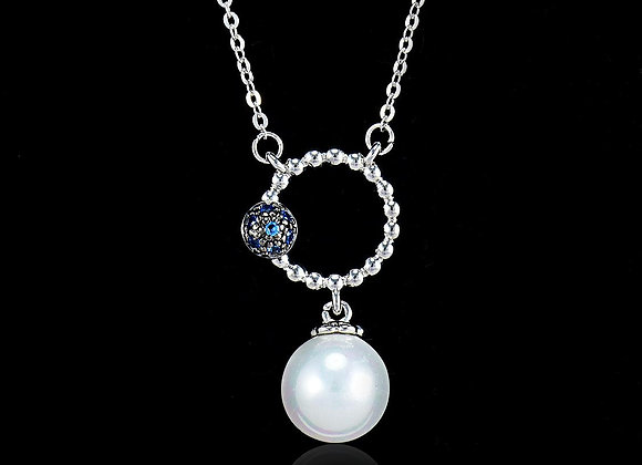 Pearl Fashion Necklace with blue stone With Gift Box