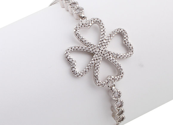 Cubic Zirconia Flower Adjustable Bracelet
