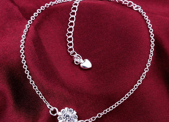"Anklet Cubic Zirconia Floral Micro Pave 4"" Extender Chain"
