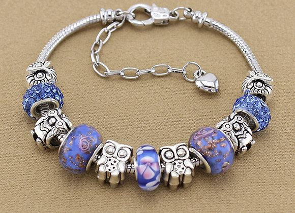 Zinc Alloy Owl Clay Pave Lamp Work Rhinestone Charm Bracelet With Size Option