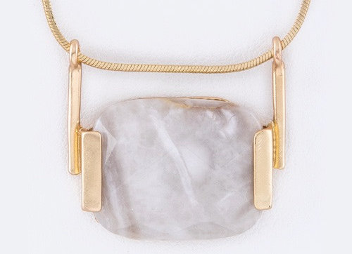 Agate Gray Stone Necklace With Gift Box