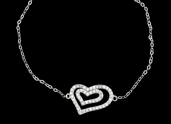 Elegant Heart Bracelet CZ BZ With Gift Box