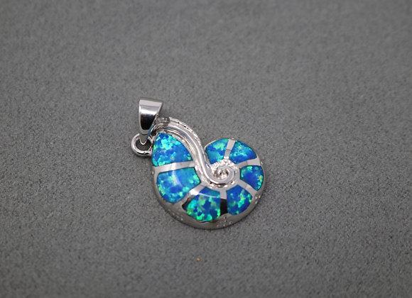 Sea Blue Shell Pendant SS
