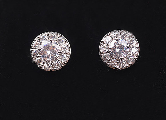 Cubic Zirconia Micro Pave Flat Round Earrings