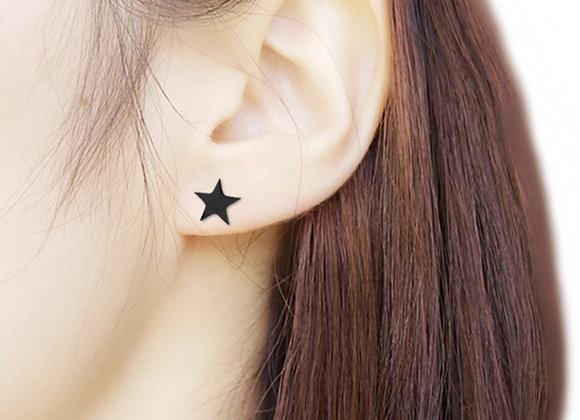 Black Star Delicate Stud Earrings