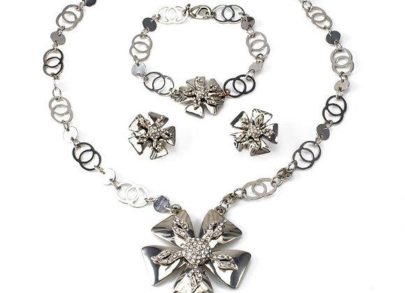 Necklace Set Rhinestone With Gift Box
