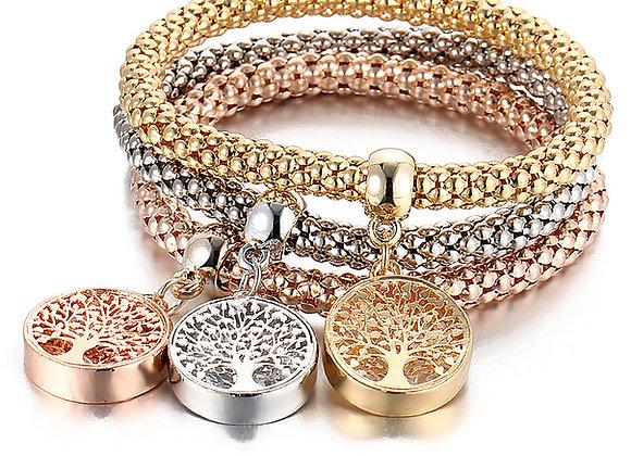 Zinc Alloy Brass Tree and Anchor Charm Bracelet 3Strands/Set