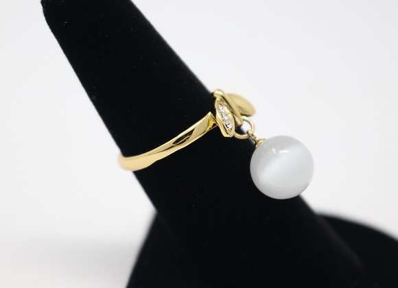 Gold Metal Opal Dangling Ring Adjustable With Gift Box