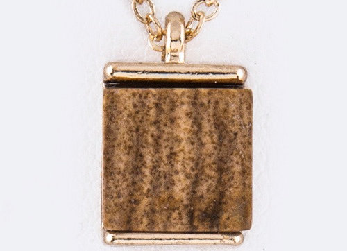 Brown Square Agate Necklace With Gift Box
