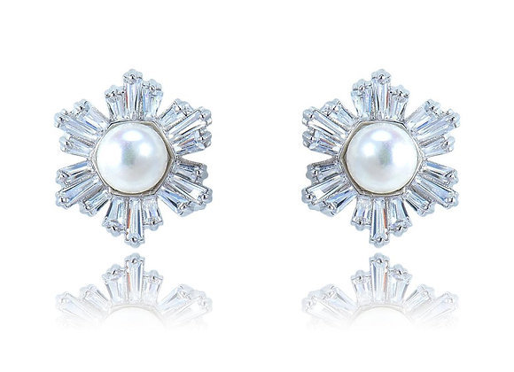 Stud Pearl Floral Earrings With Gift Box