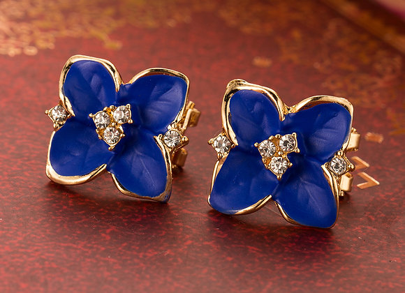 Stud Floral Nevi Blue Earrings With Gift Box