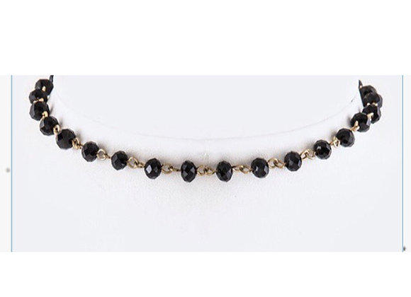 Delicate Black Bead Choker Necklace With Gift Box
