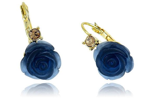 Hoop Floral Blue Earrings With Gift Box