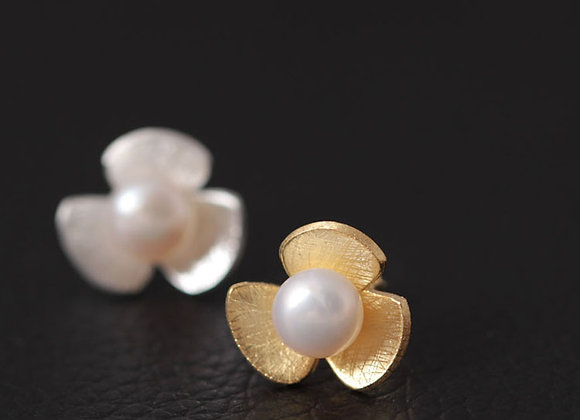 Floral Fashion Pearl Earrings 925 SS With Gift Box