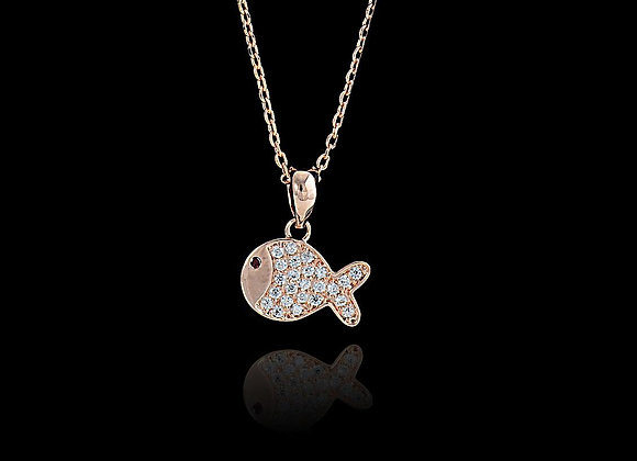 Rose Gold Fish Necklace With Gift Box