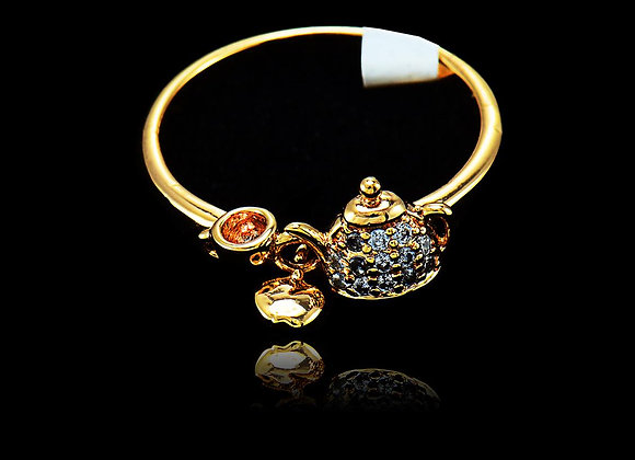 Kettle CZ BZ Gold Plated Ring With Gift Box