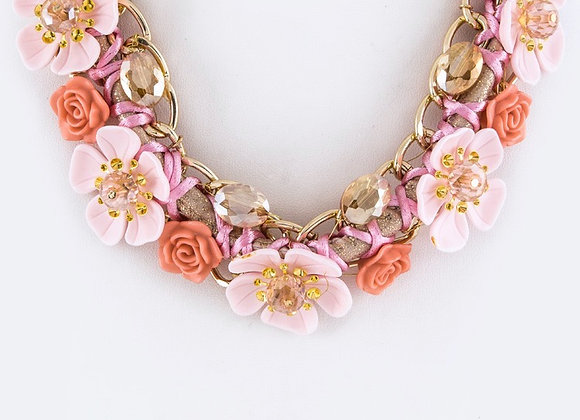 Bead Floral Chain Necklace Set With Gift Box