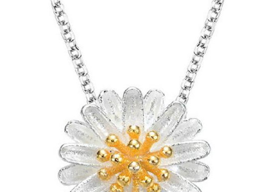 Floral Two Tone 925 SS Necklace With Gift Box