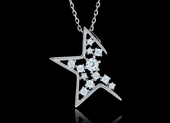 Half Star Rhinestone 925 SS Necklace With Gift Box
