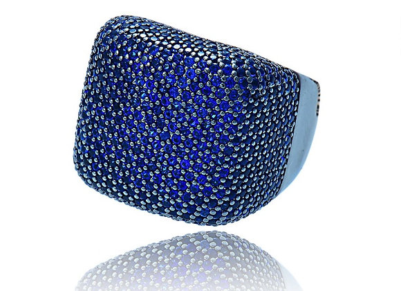 Ring Cubic Zirconia Gunmetal Blue With Gift Box
