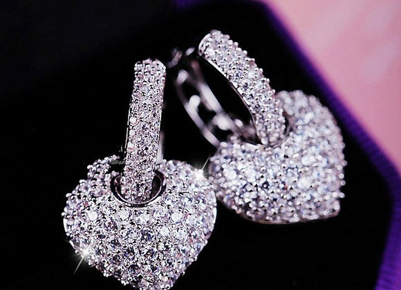 Cubic Zirconia Micro Pave Heart Hoop Earrings