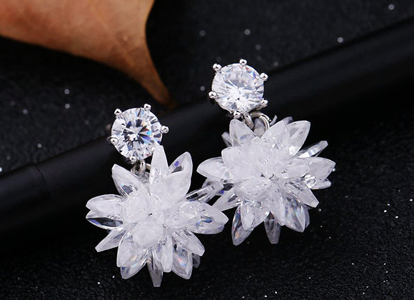 Cubic Zirconia Micro Pave Sparkling Flower Earrings