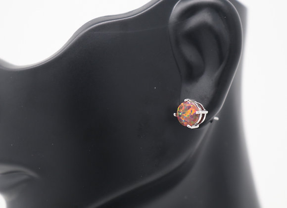 Fire Opal  Stud Earrings SS With Gift Box