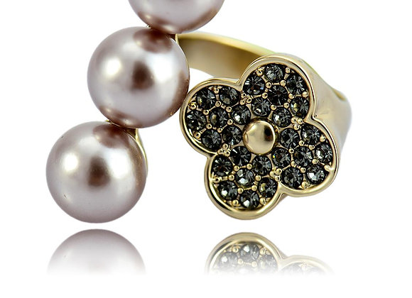 Pearl Adjustable Ring Zc Alloy With Gift Box