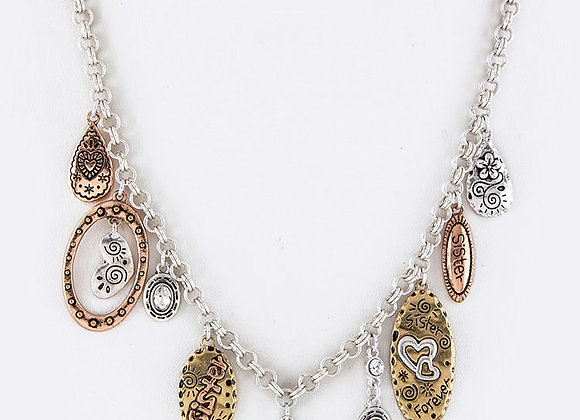 Multi Plated Charm Necklace Set With Gift Box