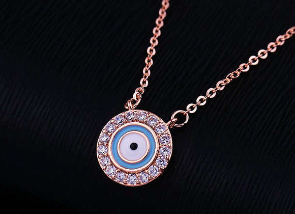 Cubic Zirconia Evil Eye Necklace