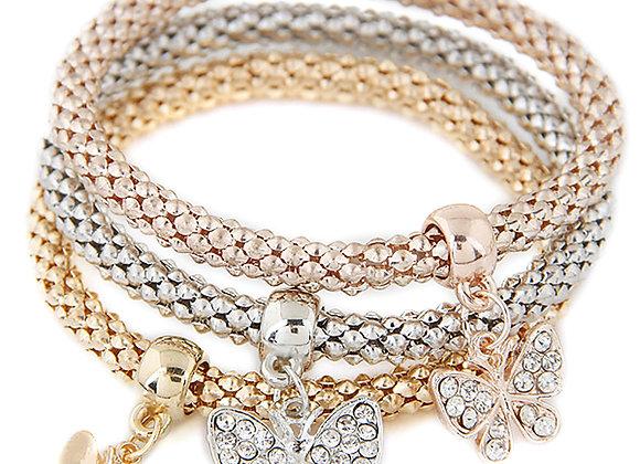 Zinc Alloy Brass Butterfly Charm Bracelet 3Strands/Set