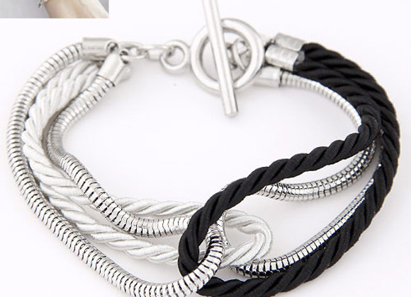 Zinc Alloy with Waxed Linen Cord Bracelets