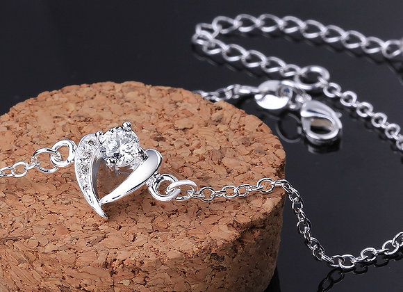 """Anklet Cubic Zirconia Heart Micro Pave 4"""" Extender Chain"""