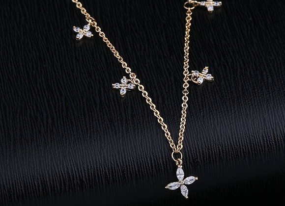 Cubic Zirconia  Five Flower Dangle Necklace