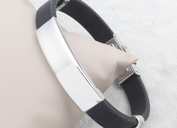 Men Silicon Plain Stainless Steel Clasp Bracelets