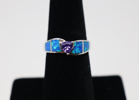 Purple Clear Blue Opal Ring SS With Gift Box