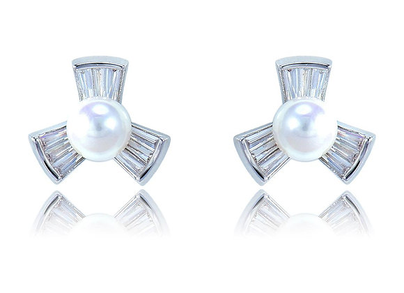 Stud Pearl Fashion Floral Earrings With Gift Box
