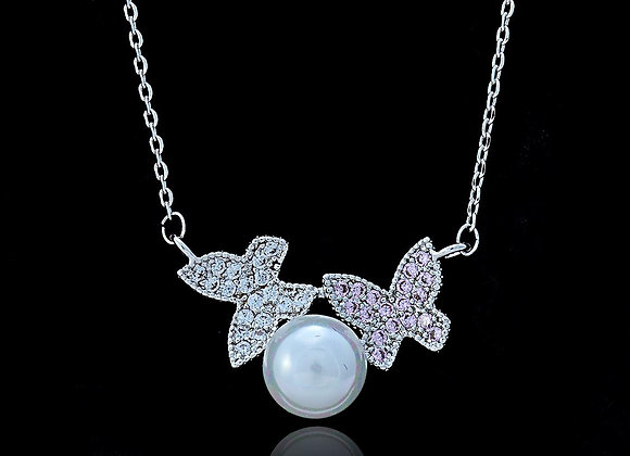 Pearl  Butterfly Fashion Necklace With Gift Box