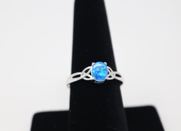 Blue Opal Ring SS With Gift Box