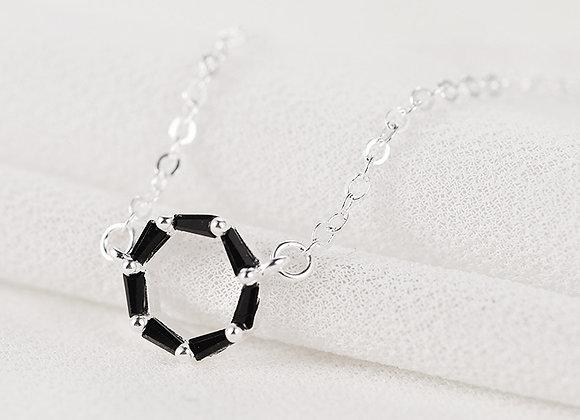 Cubic Zirconia Black Donut Elegant Necklace