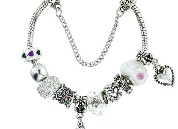Zinc Alloy Love Rhinestone Clay Pave Charm Bracelet With Size Option