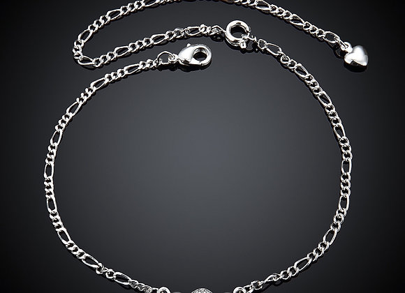 """Anklet Cubic Zirconia Three Dot Micro Pave 5"""" Extender Chain"""