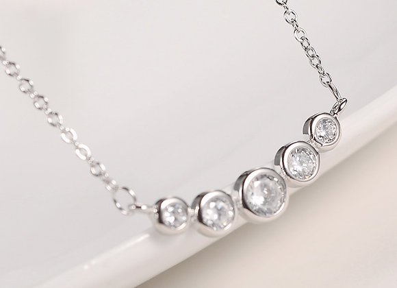 Cubic Zirconia Five Stone Elegant Necklace