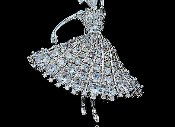 Dancing Figure CZ BZ Brooches